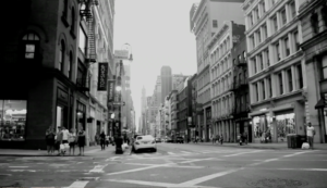 Black and white photo of downtown NYC street