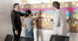 Two men and one woman puttting ideas written on post-its on the wall during a facilitated innovation lab.