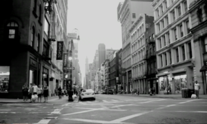 Black and white image of NYC street