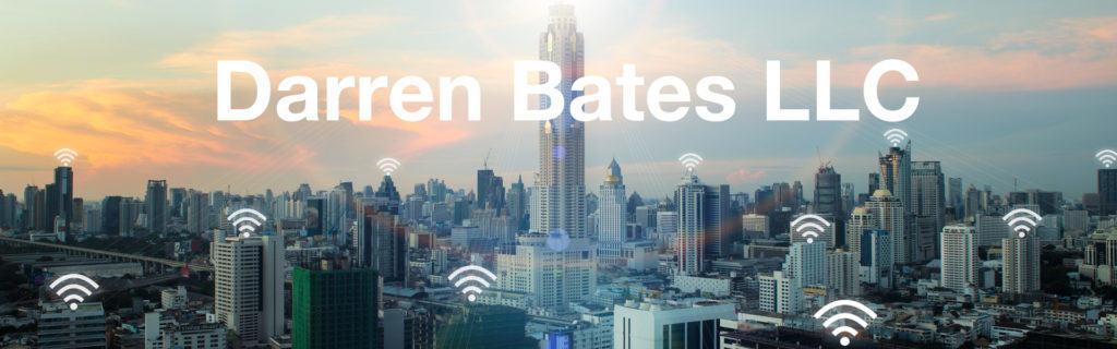 Urban Skyline at Dawn; Text: Darren Bates LLC